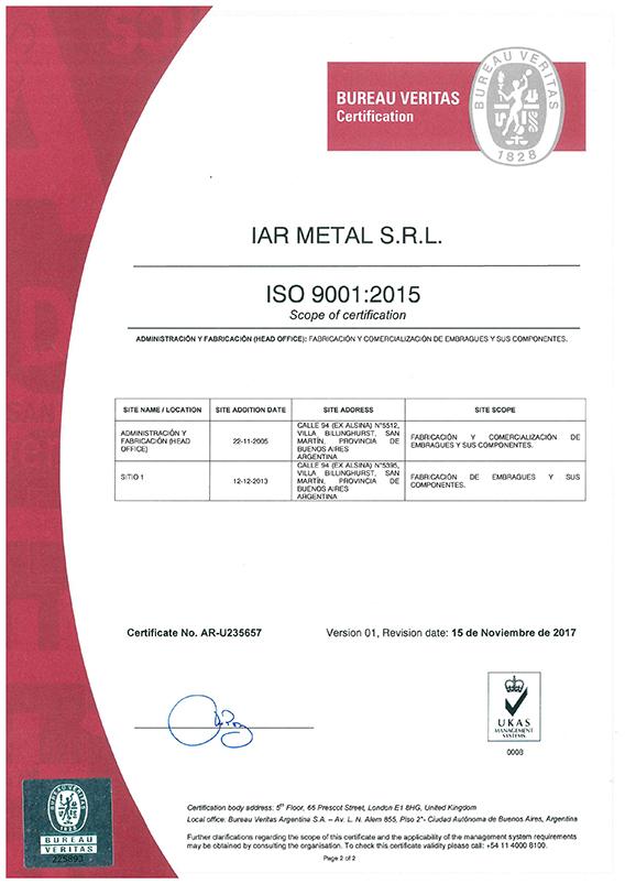 Calidad IAR Metales